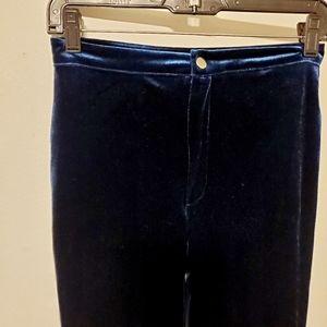 Blue velvet holiday pants